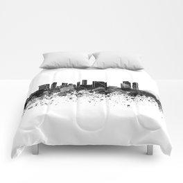 Rotterdam skyline in black watercolor Comforters