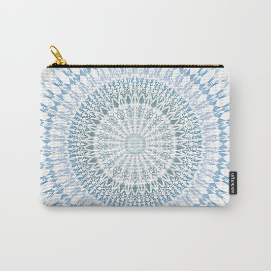 Grayish Blue White Mandala Carry-All Pouch