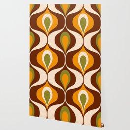 Retro 70s ovals op-art pattern brown, orange Wallpaper