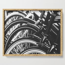 Bicycles, Bikes in Black and White Photography Serving Tray