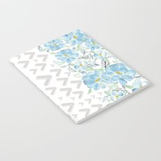 Gray arrows and blue flowers Notebook