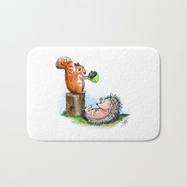 squirrel & hedgehog Bath Mat