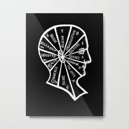 Vintage Black and White Phrenology Illustration Metal Print