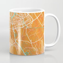 Dunkerque, France, Gold, Blue, City, Map Coffee Mug