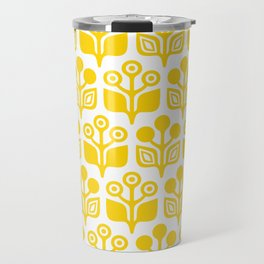 Mid Century Garden Flower Pattern Yellow Travel Mug
