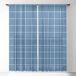 Grid Pattern Classic Blue White 0F4C81 Stripe Line Minimal Stripes Lines Spring Summer Sheer Curtain
