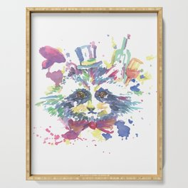 Watercolor Racoon Floral Animal Serving Tray