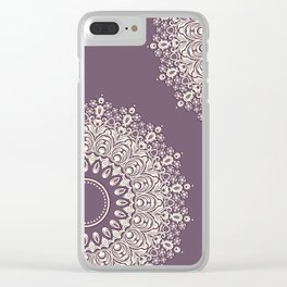 Asymmetric Mandalas on Mulberry Background Clear iPhone Case