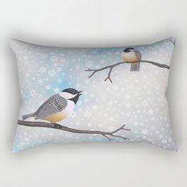 chickadees in snow Rectangular Pillow