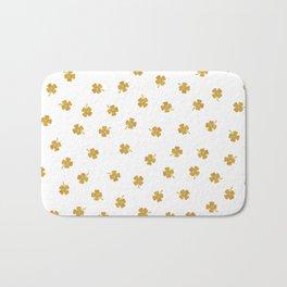 Golden Shamrocks White Background Bath Mat