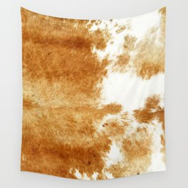 Golden Brown Cow Hide Wall Tapestry