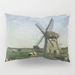 Landscape With Windmill Near Schiedam 1873 By Johan Hendrik Weissenbruch | Reproduction Pillow Sham