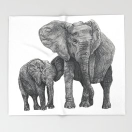 African Elephant and Calf Throw Blanket