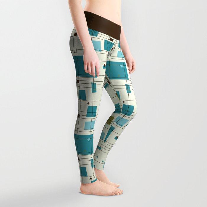 Mid-Century Modern (teal) Leggings