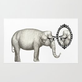 Elefante con gafas, se mira en el espejo Rug