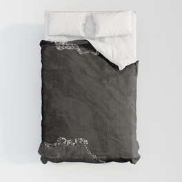 Crushed Velvet Ebony & Gray Marble With Silver Veins Comforters