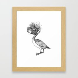 Pato cabeza de flor / Duck with flower head Framed Art Print