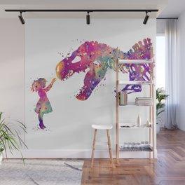 Girl and Dinosaur T-Rex Art Animals Nursery Decor Kids Room Watercolor Print Purple Home Decor Wall Mural