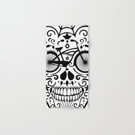Vintage Mexican Skull with Bicycle - black and white Hand & Bath Towel
