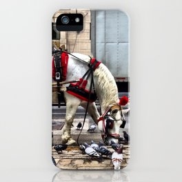 We get along like pigeons and horses. iPhone Case