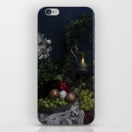 Classic  still life with flowers, fruit, vegetables and wine iPhone Skin