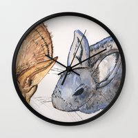 rabbits Wall Clocks featuring rabbits by 5CUZ1