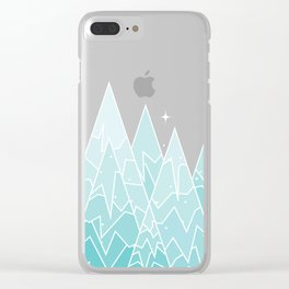 Geometric Lake Mountain IV - Winter Clear iPhone Case