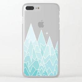 Geometric Lake Mountain IV - Winter Clear iPhone Case