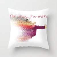 hiphop Throw Pillows featuring Famous humourous quotes series: The way forward. Exploding hiphop dancer  by PhotoStock-Israel