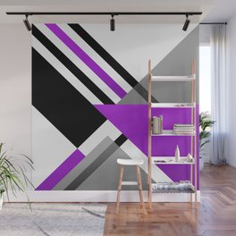 Sophisticated Ambiance - Silver & Highlighter Lavender Wall Mural