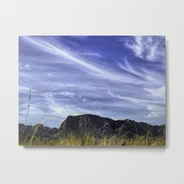 Desert Sky with mountains and Bluebonnets Metal Print
