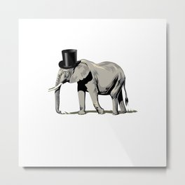 Elephant Wearing Top hat Metal Print