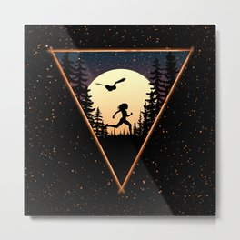 Run and Owl Metal Print