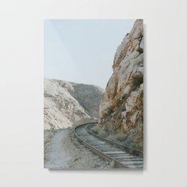 Trains winding through mountains Metal Print