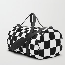 Black and White Checkerboard Pattern Duffle Bag