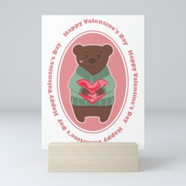 Bear with heart and lettering Mini Art Print