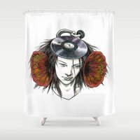 record Shower Curtains featuring Record Head by Salgood Sam
