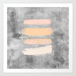 Pastel Stripes on Concrete Art Print
