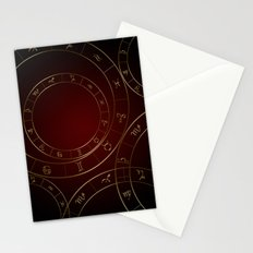 Zodiac circles and signs black and red Stationery Cards