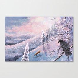 Frosty Pink Winter Scene Canvas Print