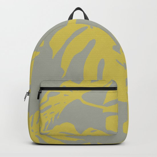 Simply Mod Yellow Palm Leaves on Retro Gray Backpack