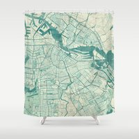 vintage map Shower Curtains featuring Amsterdam Map Blue Vintage by City Art Posters