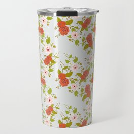 Climbing Roses, Crimson, Green, Pink and Grey Travel Mug