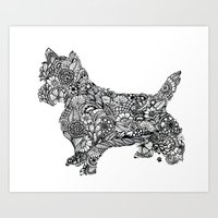 terrier Art Prints featuring Terrier by PawPrints