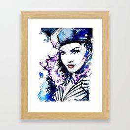 Madame / Watercolor portrait fashion illustration beautiful woman vogue cover vintage pop art Framed Art Print