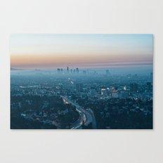 Morning smog and the 101 Freeway, Los Angeles, California, USA. Canvas Print