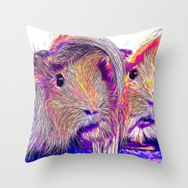 guinea pig couple vector art purple Throw Pillow
