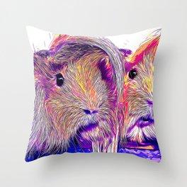 guinea pig couple vector art purple Throw Pillow