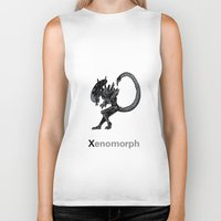 xenomorph Biker Tanks featuring Xenomorph by James Courtney-Prior