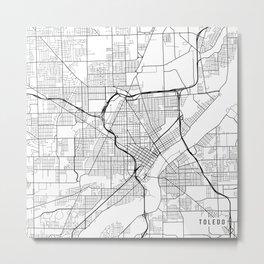 Toledo Map, USA - Black and White Metal Print